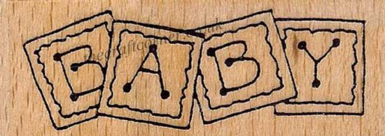 Baby Blocks Wood Mounted Rubber Stamp